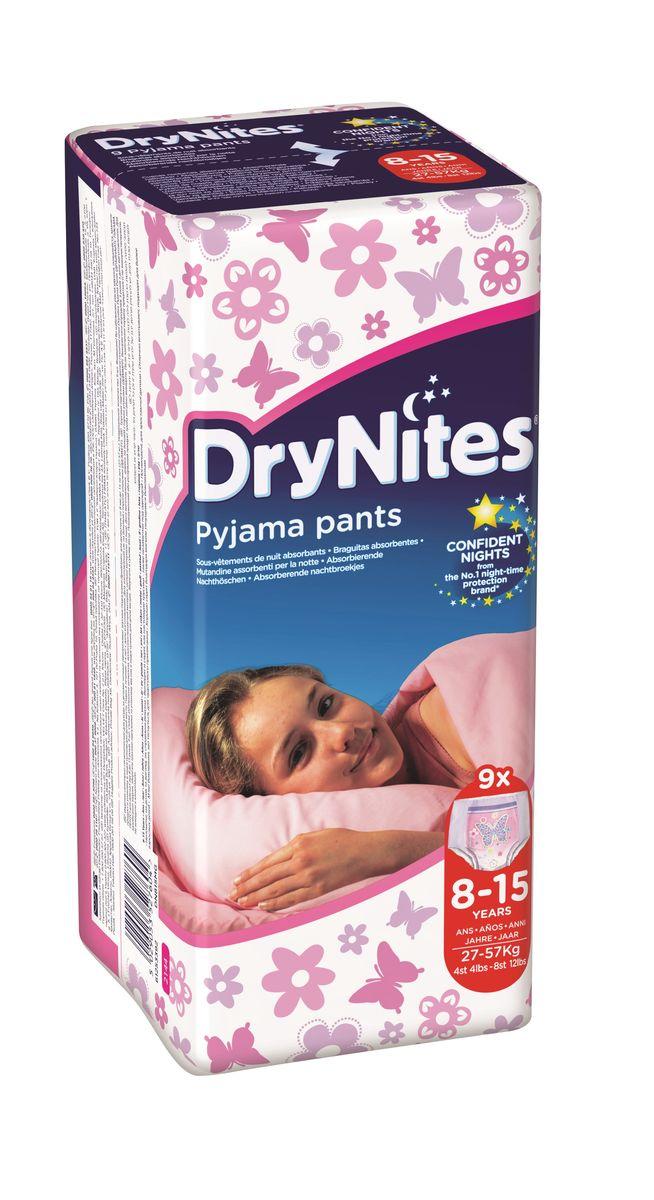 Huggies Подгузники-трусики для девочек DryNites 8-15 лет 9 шт2144081Деликатная защита на всю ночь для детей от четырех лет, страдающих энурезом. Одноразовые Трусики Huggies Dry Night для девочек 8-15 лет (30 - 47 кг) мягкие на ощупь, тонкие и незаметные, по выкройке, расцветке и рисункам на них напоминают обычное нижнее белье. Специальный впитывающий слой, расположение и распределение которого учитывает анатомические особенности девочек, и защитные барьерчики позволяют обеспечивать надежную защиту на всю ночь. Благодаря эластичным вставкам по бокам трусики комфортны и хорошо сидят. Они не протекают, поэтому теперь родителям не придется вставать среди ночи, чтобы сменить постель и пижаму ребенка. Особенности: ночные трусики для детей, страдающих недержанием; впитывающий слой и защитные барьерчики обеспечивают надежную защиту на всю ночь; по выкройке и по расцветке напоминают обычное нижнее белье; специальный дизайн для девочек.