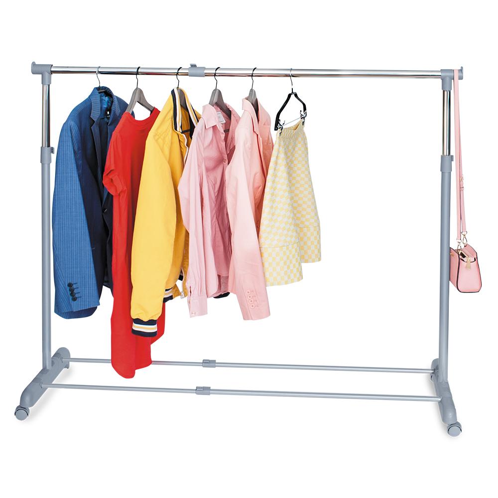 Стойка для одежды Tatkraft Party , регулируемая, цвет: серый13315Стойка для одежды Tatkraft Party позволит сэкономить полезное пространство в вашей прихожей или комнате. Она представляет собой конструкцию, выполненную их хромированной стали и пластика. Высота и ширина стойки регулируется. Благодаря колесикам вешалку легко перемещать вместе с одеждой. Внизу имеется полка для обуви, а сверху боковые крючки, на которые можно повесить сумки или пакеты. Такая стойка для одежды отличается практичностью и удобством в использовании. Регулируемая ширина: 95-161,5 см. Регулируемая высота: 96,5-166 см. Длина: 44 см. Максимальная длина вешалок: 35 см. Максимальная нагрузка: 15 кг.