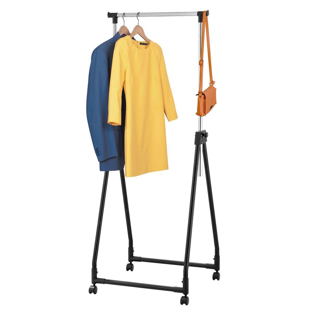 Стойка для одежды Tatkraft Swift, складная , цвет: черный13360СКЛАДНАЯ ВЕШАЛКА ДЛЯ ОДЕЖДЫ SWIFT Хромированная и окрашенная сталь Надежные зажимы Боковые крючки Вмещает до 15вешалок, распределенный вес по длине штанги - 15 кг. Сложенная стойка легко размещается: В шкафу За дверью В багажнике Размеры : 60(Ш)?48(Г)?94–170(В) см, 60?11?94 см в сложенном виде
