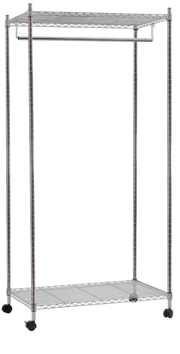 Стойка для одежды Artmoon Buffalo , сверхмощная , с двумя полками и штангой для вешалок , цвет: бежевый699300Сверхмощная стойка BUFFALO с двумя полками и штангой для вешалок, в комплекте с чехлом. Стойка выдерживает вес 50 кг. 4 колеса с фиксатором обеспечивают мобильность. Нетканый бежевый чехол, две молнии – защита от пыли и легкий доступ. Размер: 75*45*В150 см . Материал: хромированная сталь.