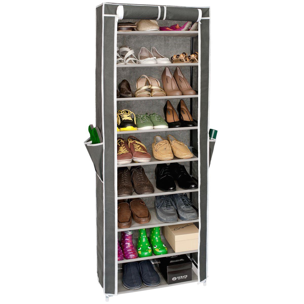 Этажерка для обуви Artmoon Carrie, с нетканым чехлом, 9 полок, цвет: серый699317Artmoon CARRIE Этажерка для обуви с нетканым чехлом, 9 полок для 27 пар обуви (+ 4 кармашка на чехле). Размер: 58*29*160 см, цвет: темно-серый. Полки съемные, регулируется под обувь любой высоты. Нетканый чехол защищает от пыли, две молний, фиксируется липучкой в открытом виде, полки с полипропиленовой пропиткой не боятся влаги для легкой уборки. Материал: стальные трубы, пластиковые соединители, нетканый чехол, 2 молнии, 1 липучка. Упаковка: цветная коробка с ручкой.