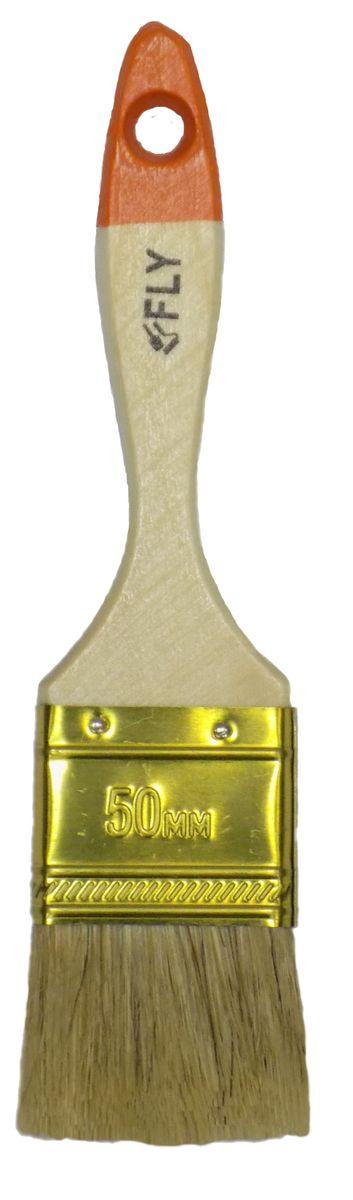 Кисть малярная Fly Light, плоская, натуральная щетина, ширина 50 мм01-050Плоская кисть Fly Light подойдет для работы с любыми лакокрасочным материалами. Светлая, натуральная щетина позволяет наносить краску ровно и гладко, без подтеков. Специальный металлический бандаж надежно фиксирует рабочую часть. Деревянная рукоятка из твердой древесины обладает удобной для руки формой, а специальное отверстие на конце предназначено для подвеса.