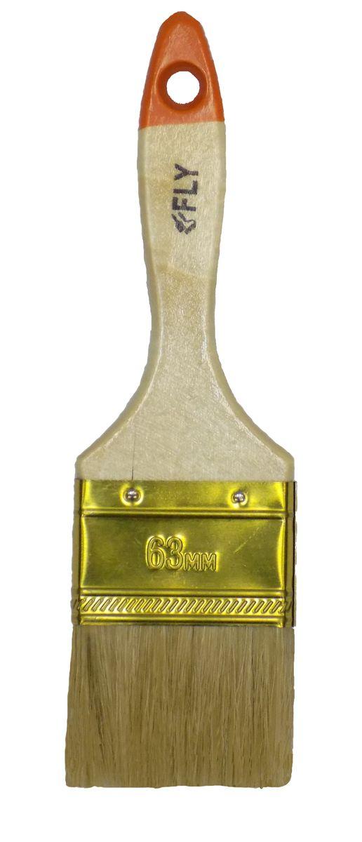Кисть малярная Fly Light, плоская, натуральная щетина, ширина 63 мм01-063Плоская кисть Fly Light подойдет для работы с любыми лакокрасочным материалами. Светлая, натуральная щетина позволяет наносить краску ровно и гладко, без подтеков. Специальный металлический бандаж надежно фиксирует рабочую часть. Деревянная рукоятка из твердой древесины обладает удобной для руки формой, а специальное отверстие на конце предназначено для подвеса.