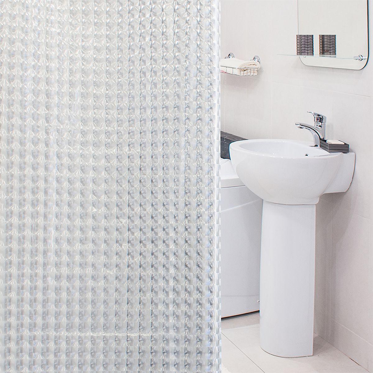 Штора для ванной комнаты 3D Tatkraft Crystal, с кольцами, 180 х 180 см18815Штора для ванной комнаты 3D Tatkraft Crystal выполнена из высококачественного материала ПЕВА (полиэтиленвинилацетат) с водоотталкивающим и антигрибковым покрытием. Изделие хорошо пропускает свет и быстро высыхает. В комплекте прилагаются овальные пластиковые кольца. Такая штора прекрасно впишется в любой интерьер ванной комнаты и идеально защитит от брызг. Количество колец: 12 шт.