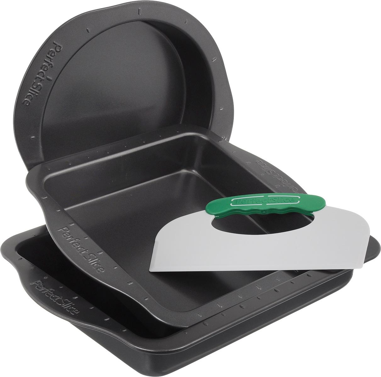 Набор для выпечки BergHOFF Perfect Slice, 4 предмета1100057Набор для выпечки BergHOFF Perfect Slice состоит из противня, круглой формы, квадратной формы и инструмента для нарезания. Изделия выполнены из высокоуглеродистой стали с антипригарным покрытием. Благодаря такому покрытию пища не пригорает, не прилипает и легко вынимается. Специальная разметка и пластиковый инструмент для нарезания с прорезиненными ручками позволят разделить блюда на равные и красивые порции. Эргономичные ручки на посуде выполнены для безопасного и легкого хвата, даже в рукавицах. Формы и противень выдерживают температуру до 250° C. Такой набор станет верным помощником в создании ваших кулинарных шедевров. Подходит для использования в духовом шкафу. Можно мыть в посудомоечной машине. Внутренний диаметр круглой формы: 22 см. Ширина круглой формы (с учетом ручек): 30 см. Высота стенки круглой формы: 5 см. Внутренний размер квадратной формы: 22,5 х 22,5 см. Ширина квадратной формы (с учетом...