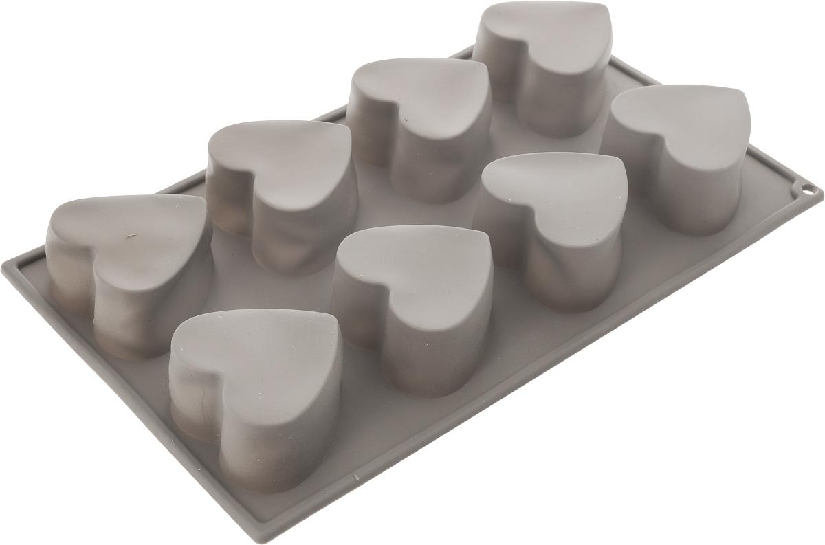 Форма для выпечки BergHOFF Studio, силиконовая, 8 ячеек1101860Форма для выпечки BergHOFF Studio изготовлена из высококачественного силикона и обладает антипригарным свойством. Стенки формы легко гнутся, что позволяет без труда достать готовую выпечку и сохранить аккуратный внешний вид блюда. На одном листе расположено 8 ячеек в виде сердец. Изделия из силикона очень удобны в использовании: пища в них не пригорает и не прилипает к стенкам, а также равномерно и быстро пропекается. Порадуйте своих родных и близких любимой выпечкой в необычном исполнении. Подходит для приготовления в духовом шкафу при нагревании до +230°С. Можно мыть в посудомоечной машине. Количество ячеек: 8 шт. Размер ячейки: 6,5 х 6 х 3,5 см. Размер формы: 29,5 х 17 х 3,5 см.