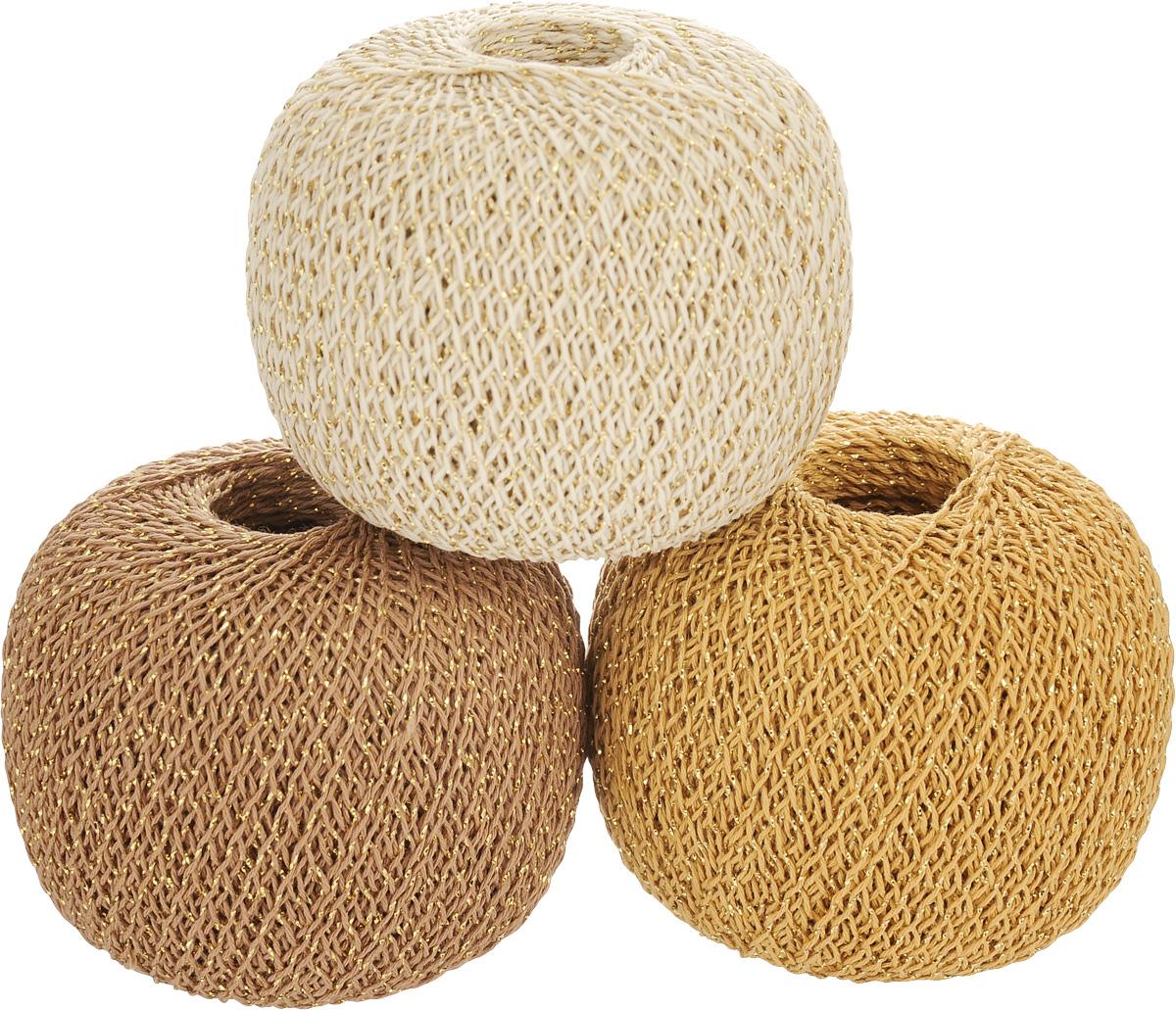 Нитки вязальные Золотые шары, комбинированные, цвет: бежевый, оранжевый, коричневый, 390 м, 50 г, 3 шт0192804601778Вязальные нитки Золотые шары изготовлены из 86% хлопка и 14% люрекса. Добавление люрекса придает нитке блестящий праздничный вид. Изделие, связанное из такой нити, легко набирает и легко отдает влагу. Окраска устойчива, особо прочная. В наборе - 3 клубка. С их помощью вы сможете связать своими руками необычные и красивые вещи. Вес: 50 г. Длина нити: 390 м.