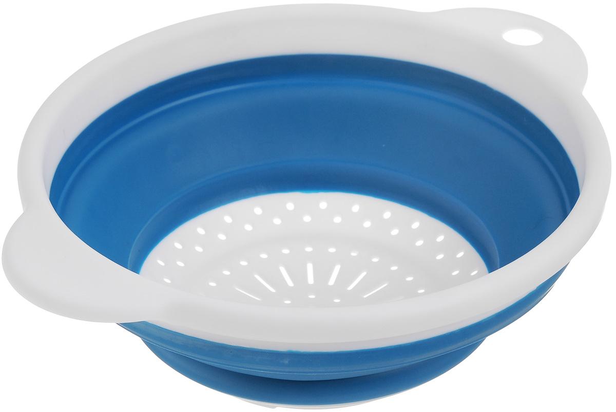 Дуршлаг Идея, складной, цвет: темно-бирюзовый, белый. CLD-02CLD-02_темно бирюзовыйДуршлаг складной Идея, изготовленный из высококачественного пищевого пластика и силикона, станет полезным приобретением для вашей кухни. Он идеально подходит для процеживания, ополаскивания макарон, овощей, фруктов. Нельзя мыть и сушить в посудомоечной машине. Внутренний диаметр: 18 см. Размер (в разложенном виде): 23 х 20 х 9 см. Размер (в сложенном виде): 23 х 20 х 3 см.