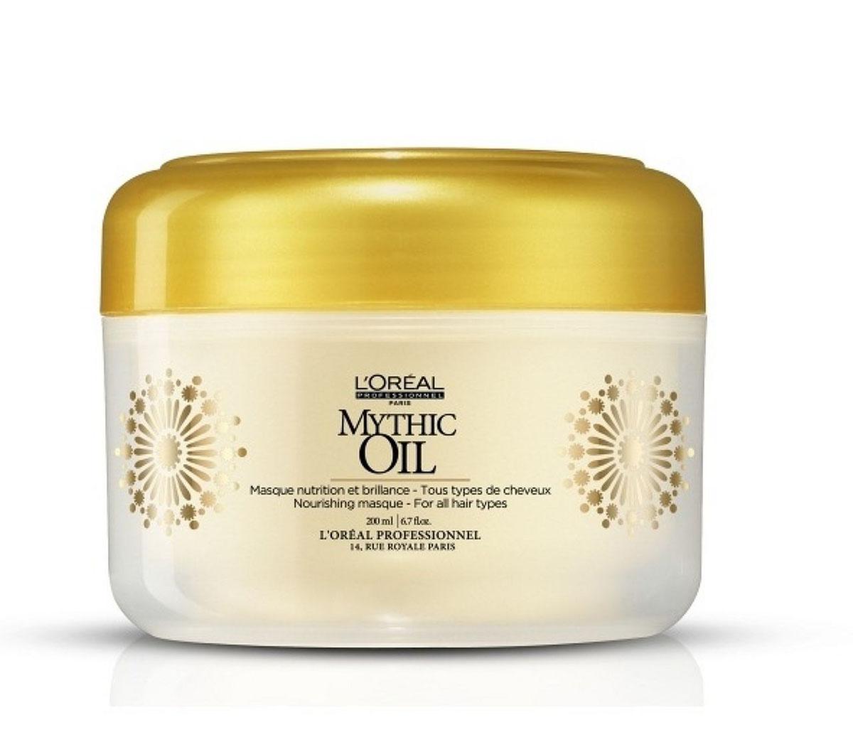LOreal Professionnel Mythic Oil Питательная маска для всех типов волос 200 млE0471764Новинка от Лореаль - Mythic Oil Masque. Эта питательная маска, придает волосам глянцевый блеск, в результате чего ваши волосы становятся ухоженными и здоровыми.неповторимый, здоровый, ухоженный вид. Защита и питание волос, их мягкость обеспечиваются благодаря натуральным маслам, входящим в состав шампуня: Масло арганы - для увлажнения, питания и восстанавления структуры волос. Хлопковое масло (холодного отжима) - для сохранения необходимого гидробаланса, для увеличения защитных свойств волос и кожи головы. Шикарный блеск и гладкость волос обеспечивается благодаря маслу виноградных косточек. Масло авокадо - для укрепления волос и защиты от УФ-лучей.