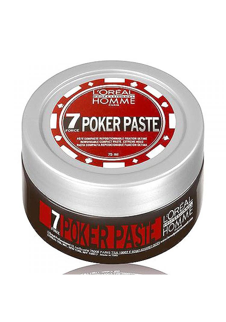 LOreal Professionnel Homme Моделирующая паста экстремально сильной фиксации Poker Paste – 75 млE0517790LOrealProfessionnelHommePokerPaste Моделирующая паста экстремально сильной фиксации профессиональное средство для укладки волос, специально разработанное для мужчин. Компактная моделирующая паста экстремально сильной фиксации 7 степени LOreal Professionnel Homme Poker Paste поможет воплотить любые, даже самые смелые, варианты укладки мужских причесок. Паста обеспечивает сильную фиксацию прядей в течение всего дня, даже самые непослушные и жесткие волосы легко принимают нужную форму и надолго сохраняют безупречность прически. Благодаря сбалансированному составу, обогащенному комплексом минералов, витамин и других питательных веществ бережно ухаживает за волосами, придавая им красивый блеск и жизненную силу. После нанесения моделирующая паста остается невидимой, волосы не слипаются, остается ощущение легкости и естественности. Идеально подходит для укладки всех типов волос. Средство имеет тонкую, и в тоже время насыщенную и немного терпкую ароматическую композицию. Верхние ноты...