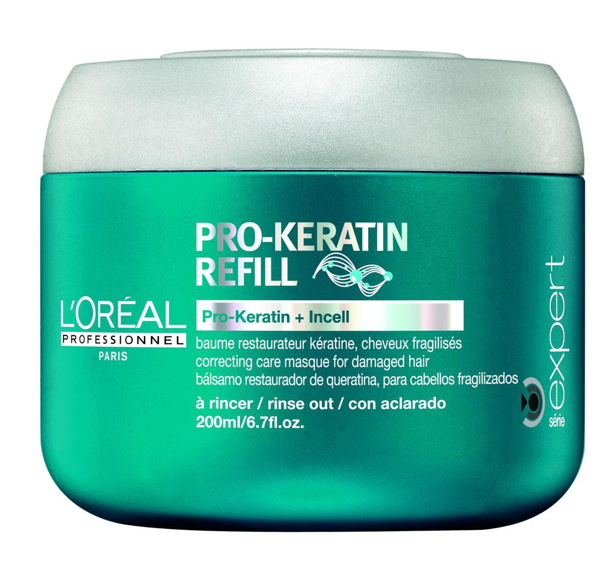 LOreal Professionnel Восстанавливающая и укрепляющая маска для поврежденных волос Expert Pro-Keratin Refill Masque - 200 млE0526082Питательная маска от Lоreal Professionnel глубоко проникает вглубь волоса и пополняет его поврежденную структуру. Обладает интенсивными питательными и лечебными свойствами. Устраняет сечение кончиков и спутывание, облегчая расчесывание. Укрепляет волосяной фолликул и уплотняет волосы. Препятствуя чрезмерному выпадению волос, способствуя здоровому росту волос. Устраняет нежелательную пушистость и делает волосы послушными. Придает дополнительный блеск, необходимую гладкость и шелковистость. Восстанавливает поврежденные чешуйки волос, интенсивно питает, защищает от негативного воздействия среды. Исследования показали, что волосы на 70% становятся менее ломкими и хрупкими. Активные компоненты: Pro-кератин, молекулы Incell, протеины пшеницы, аргинин, фруктовые экстракты.