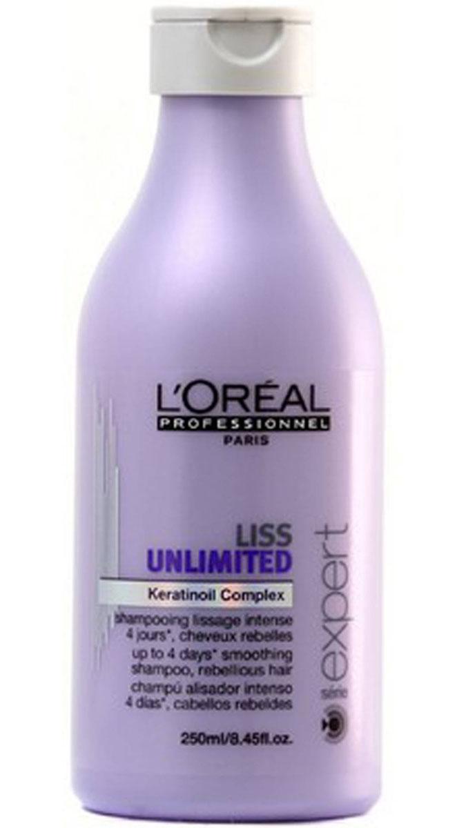 LOreal Professionnel Liss Unlimited – Шампунь для непослушных волос 250 млE0535053LOrealProfessionnelLissUnlimitedShampoo Шампунь для непослушных волос профессиональное средство для ухода за непослушными волосами. Шампунь LOreal Professionnel Liss Unlimited Shampoo поможет навсегда забыть о проблеме капризных» волос, начинающихся пушиться и виться при влажной погоде. ШампуньLiss Unlimited Shampoo с разглаживающим эффектом мгновенно укрощает непослушные волосы, делает их гладкими, эластичными и упругими в любую погоду. Благодаря специальной формуле, шампунь не только позволяет быстро выпрямить пряди, средство глубоко питает, бережно очищает и защищает каждый волосок. Комплекс питательных компонентов в сочетании с маслами энотеры и кукуи жизненная сила, красота и бриллиантовый блеск волос. Кератин, входящий в состав шампуня, обеспечивает восстановление структуры волос, способствует укреплению корней, благодаря чему волосы становятся сильными, прочными и шелковистыми, значительно снижается их выпадение. LOreal Professionnel Liss Unlimited Shampoo подходит для...