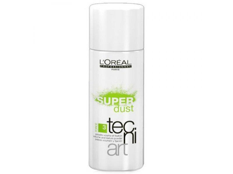 LOreal Professionnel Tecni. Art Super Dust - Пудра для объема и фиксации (фикс.3) 7 грE0614611Минеральная пудра Super Dust обеспечивает дополнительный объем, создавая мгновенный эффект пышных волос. Легко распределяется по волосам не оставляя следов и обеспечивая контроль за прической. Тонизирует и удаляет излишки жира. Возможно использование в комбинации с серумом, пастой или спреем для укладки, для получения желаемого эффекта при укладке. Тип волос: все Уровень фиксации: 3 (нормальный)