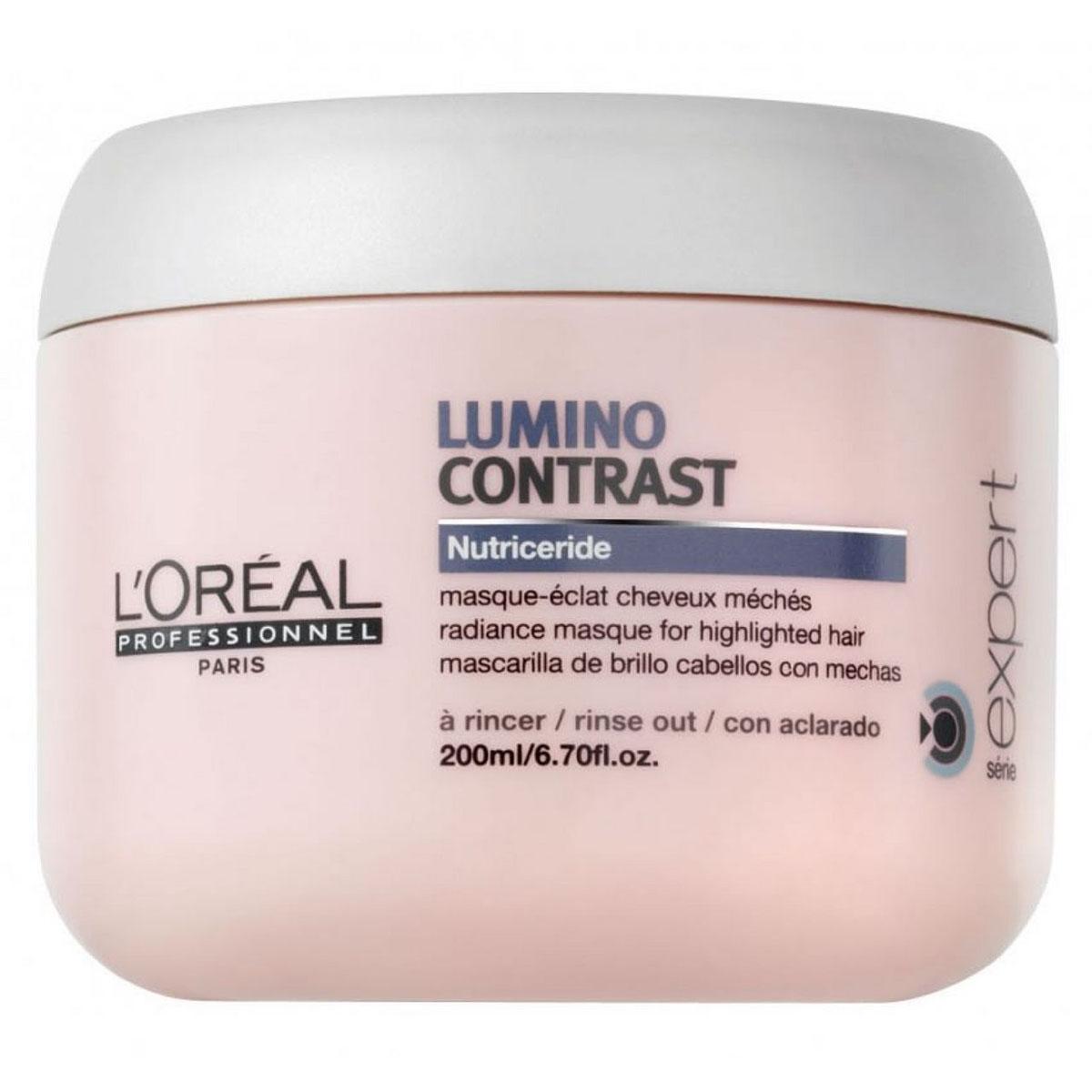 LOreal Professionnel Маска-сияние Expert Lumino Contrast - 200 млE3001876Как известно, мелированным волосам необходим особый уход, который отличается от ухода за окрашенными волосами. Специально для мелированных прядей была создана маска-сияние Люмино Контраст, которая справляется с несколькими задачами: Препятствует вымыванию цвета, питает волосы. Разглаживает волосы, создавая на них плёнку, которая защищает их от неблагоприятного воздействия внешних факторов. Дарит волосам сияние, шелковистость, гладкость и наполняет их энергией. Способствует восстановлению липидного баланса мелированных прядей, благодаря особой технологии Nutriceride. Облегчает процесс укладки и расчёсывание.