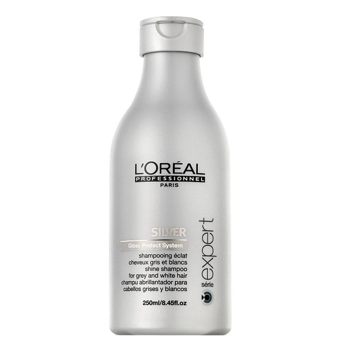 LOreal Professionnel Expert Silver - Шампунь для нейтрализации желтизны 250 млE3002156Шампунь для нейтрализации желтизны Сильвер создан специально для мягкого очищения седых волос. Система Глосс Протект избавляет волосы от желтизны. Богатая формула шампуня содержит: витамины и минералы - увлажняют и питают волосы, восстанавливают гидробаланс кожи головы и работу сальных желез; протеины и керамиды - защищают волосы от ломкости и выпадения; комплекс для блеска - придает волосам естественное сияние и блеск.