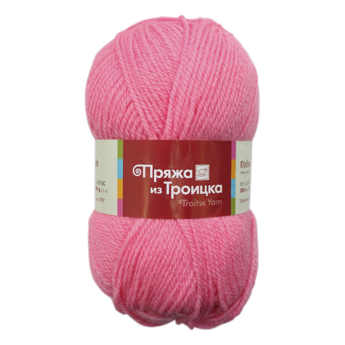 Пряжа для вязания Подмосковная, 100 г, 250 м, цвет: 0160 розовый, 10 шт366001_0160