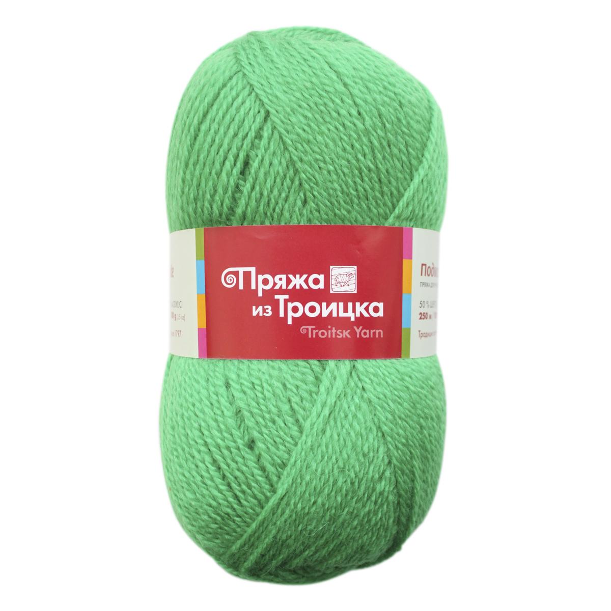 Пряжа для вязания Подмосковная, 100 г, 250 м, цвет: 0723 ярко-зеленый, 10 шт366001_0723