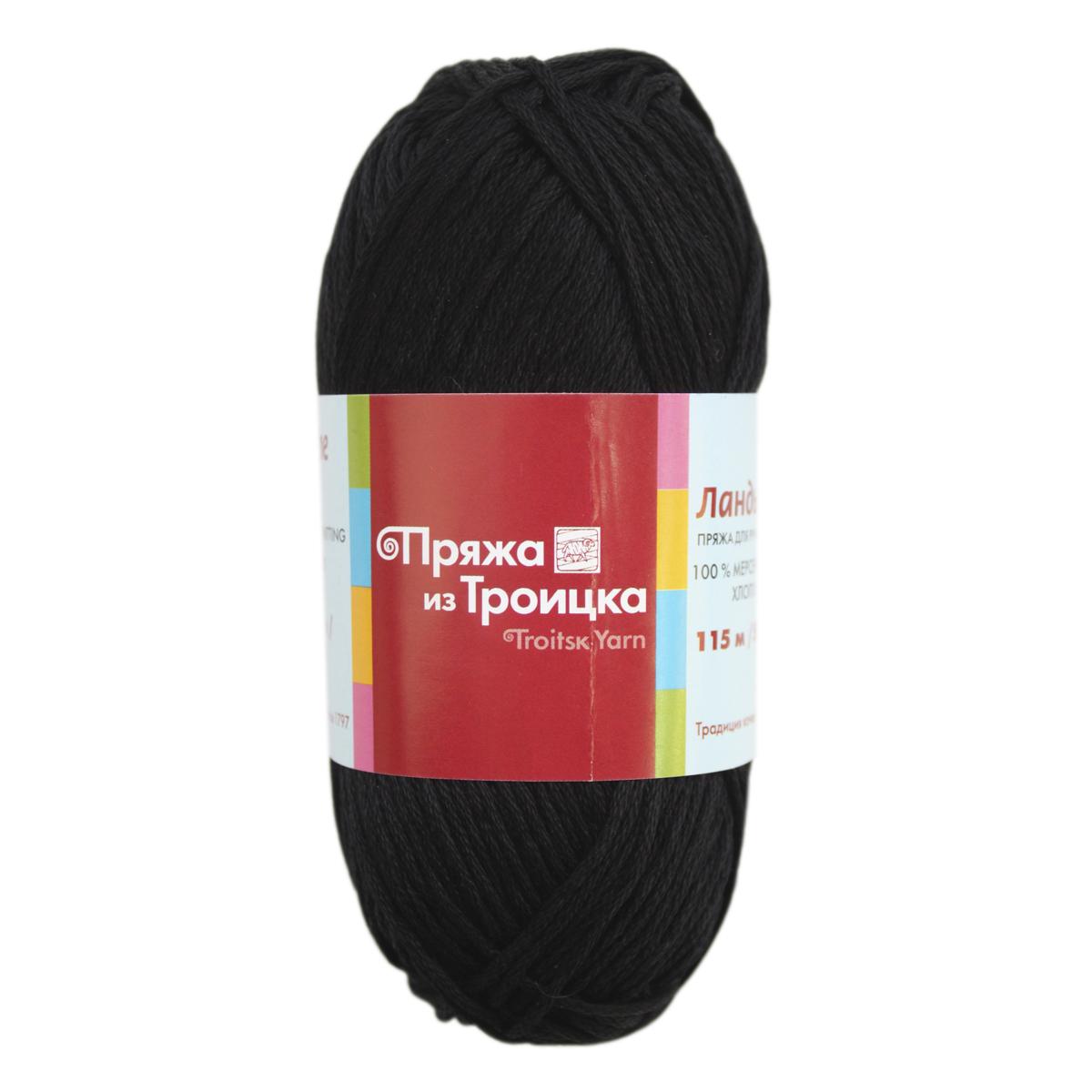 Пряжа для вязания Ландыш, 50 г, 115 м, цвет: 0140 черный, 10 шт366131_0140