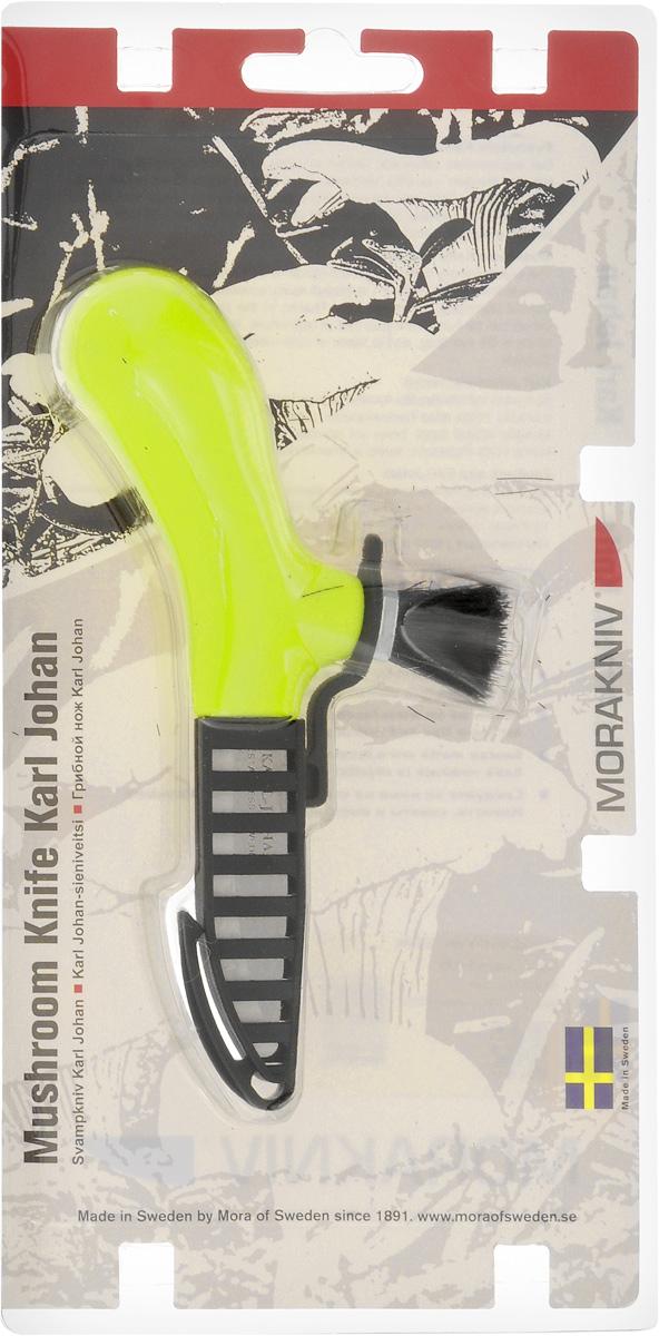 Нож грибника Morakniv Karl Johan, с чехлом, длина лезвия 5,5 см11898Специализированный нож Morakniv Karl Johan станет незаменимым помощником грибника, охотника или просто человека, любящего активный отдых. Клинок выполнен из холоднокатной нержавеющей стали Sandvik. Ручка, выполненная из пластика, обеспечивает надежный хват и не выскальзывает даже из мокрой руки. Для очистки грибов от земли служит щеточка из натурального конского волоса. Нож комплектуется чехлом с креплением на пояс. Общая длина ножа: 15 см.