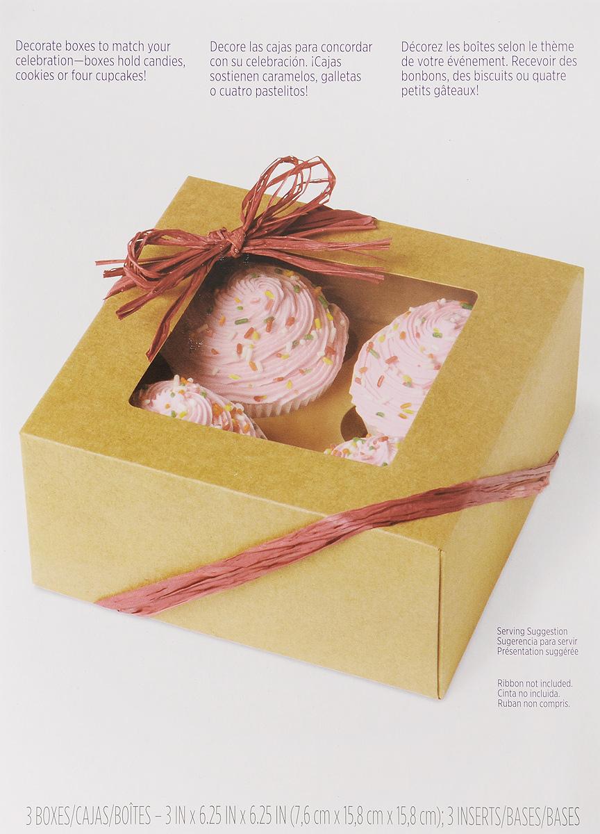 Набор коробок для сладостей Wilton Крафт, 3 штWLT-415-0953Набор Wilton Крафт состоит из трех коробок, изготовленных из картона и предназначенных для упаковки кондитерских изделий. Каждая коробочка оснащена небольшим окошком, благодаря которому можно видеть содержимое. Коробка Wilton Крафт - идеальная упаковка для вашего сладкого подарка. Просто поместите внутрь пирожное, и удивительно красивый и вкусный подарок готов! Набор также подходит для транспортировки кондитерских изделий. Размер коробки (в сложенном виде): 23,5 х 15,7 х 0,7 см.
