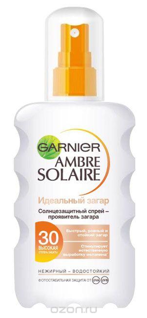 Garnier Солнцезащитный спрей-проявитель загара для тела Ambre Solaire. Идеальный загар, водостойкий, для светлой, уже загорелой кожи, SPF 30, 200 млC4726515Солнцезащитный спрей-проявитель загара стимулирует естественную выработку меланина* и обеспечивает быстрый ровный и стойкий загар. Высокая степень защиты для очень светлой, уже загорелой кожи.