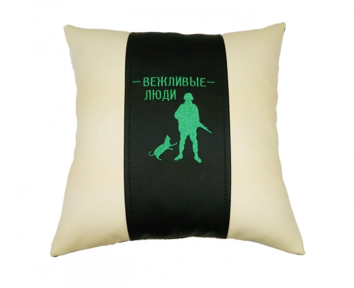 Подушка декоративная Auto premium Вежливые люди, цвет: черно-бежевый. 37256