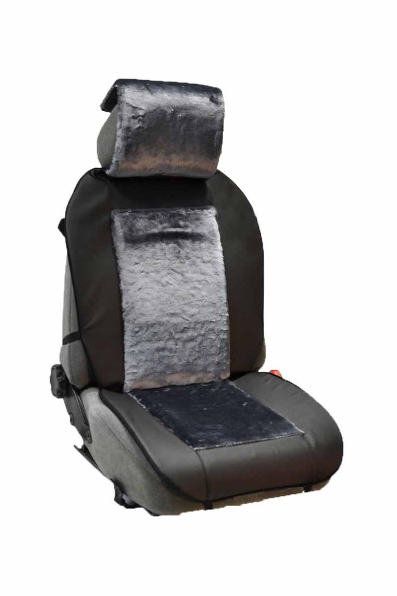 Накидка Auto premium на полное сидение, цвет: черно-серый. 4710947109Комбинированная накидка из экокожи и искуственного меха. Стильное и практичное решение для салона автомобиля. Экокожа обеспечит долговечность использования накидки, а искуственный мех сделает сиденье автомобиля еще более комфортным. Долговечная и в то же время теплая накидка в Ваш автомобиль.