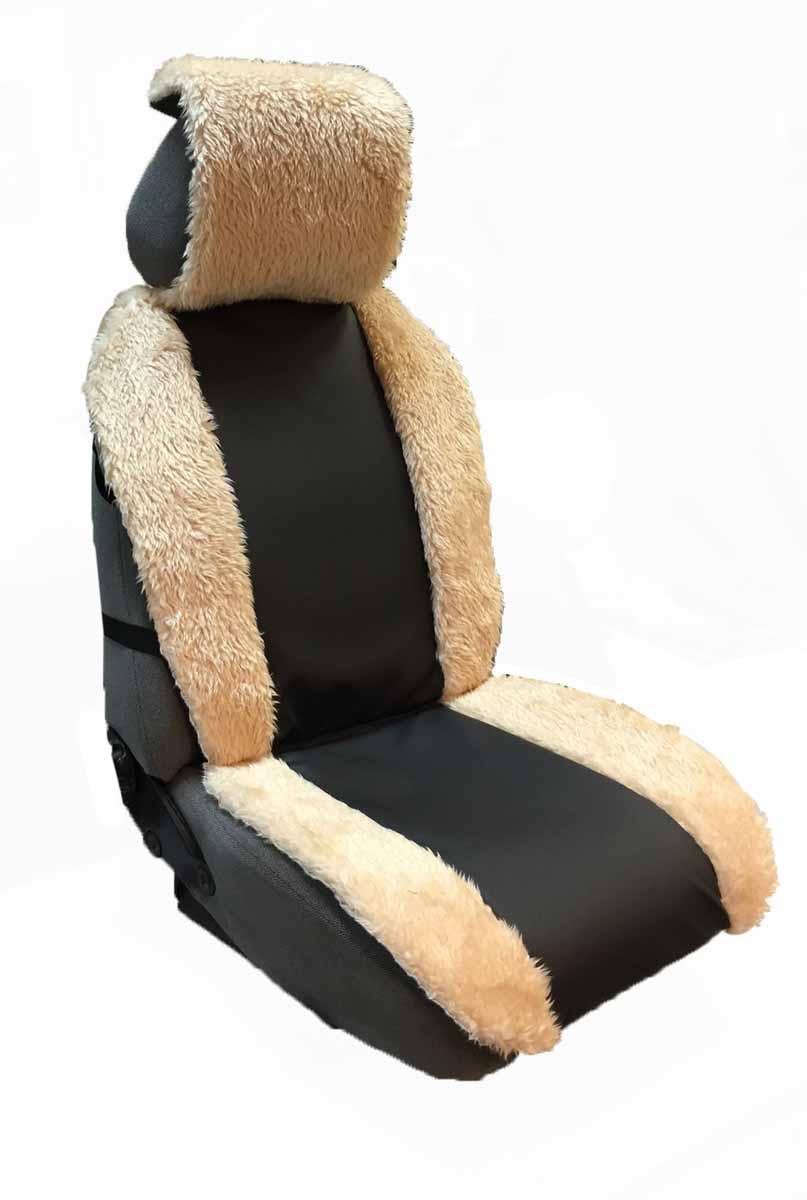 Накидка Auto premium на полное сидение, цвет: черно-бежевый. 4711047110Комбинированная накидка из экокожи и искуственного меха. Стильное и практичное решение для салона автомобиля. Экокожа обеспечит долговечность использования накидки, а искуственный мех сделает сиденье автомобиля еще более комфортным. Долговечная и в то же время теплая накидка в Ваш автомобиль.
