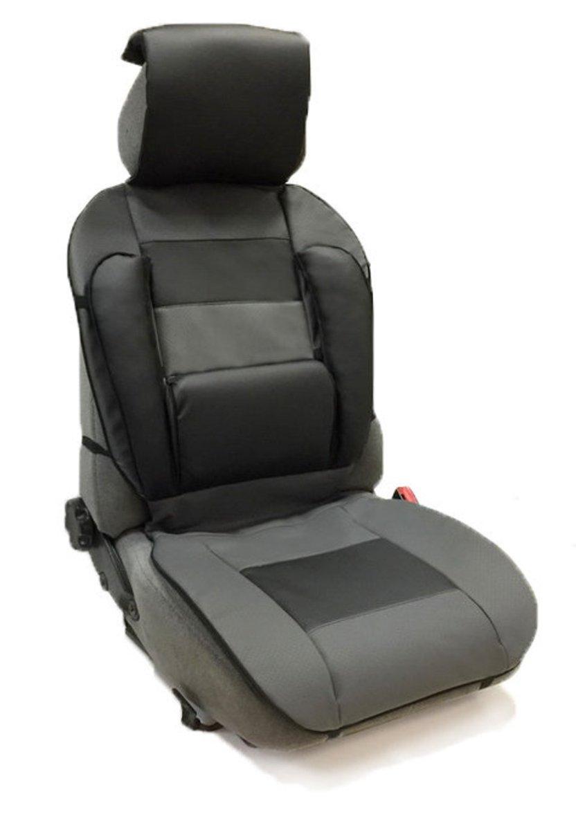 Накидка Auto premium на полное сидение, валики спина, цвет: черно-серый. 4730547305Накидка из экокожи с анатомической поддержкой для спины.