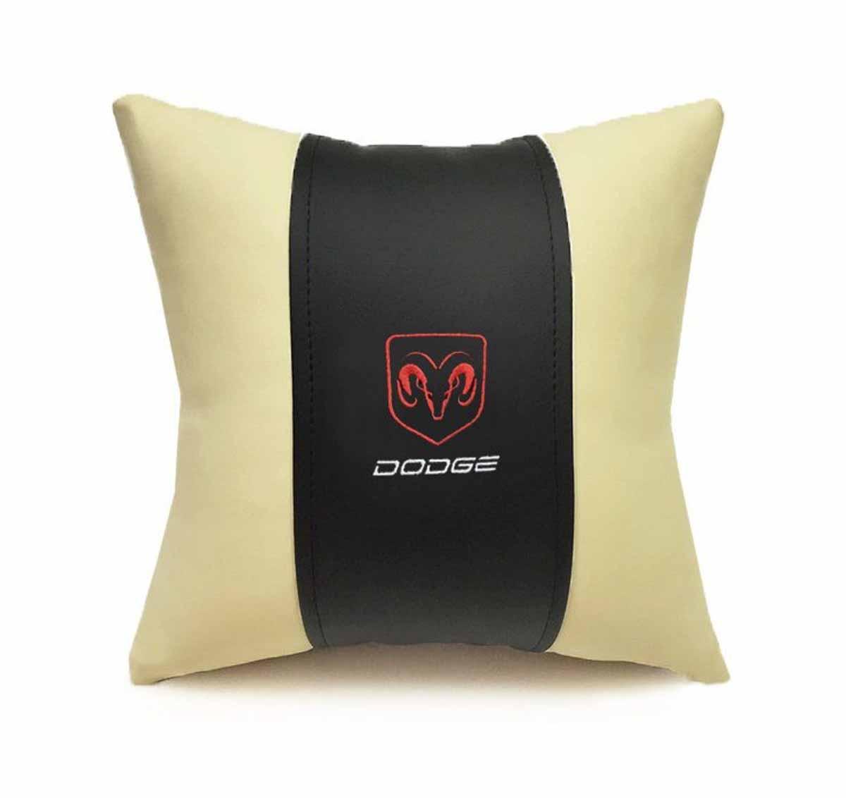 Подушка декоративная Auto premium DODGE, цвет: черно-бежевый. 37075