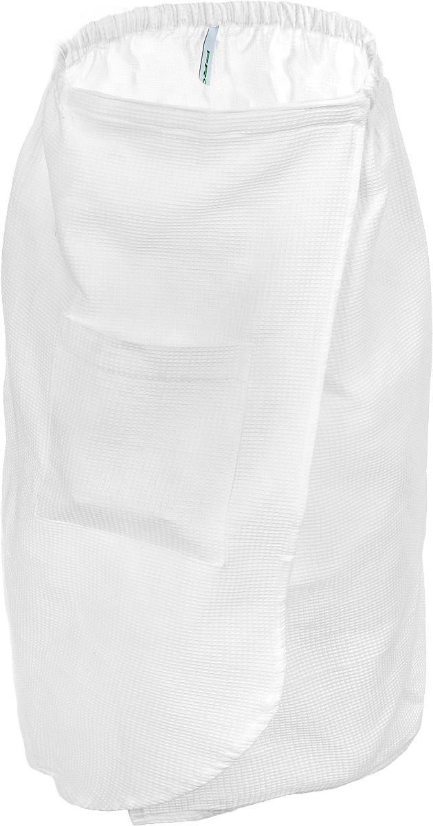Парео для бани и сауны Proffi Sauna, цвет: белый. Размер МPH2028Парео для бани и сауны Proffi Sauna выполнено из легкой вафельной ткани (100% натуральный хлопок). Изделия из такой ткани хорошо впитывают влагу, являются практичными и износостойкими. Парео снабжено резинкой и застежкой-липучкой, поэтому универсально. Оно прекрасно послужит в качестве полотенца или накидки и защитит вас от воздействия горячих предметов в парилке. Парео - полезный аксессуар для всех любителей попариться в бане. Обхват груди: от 86 до 114 см.