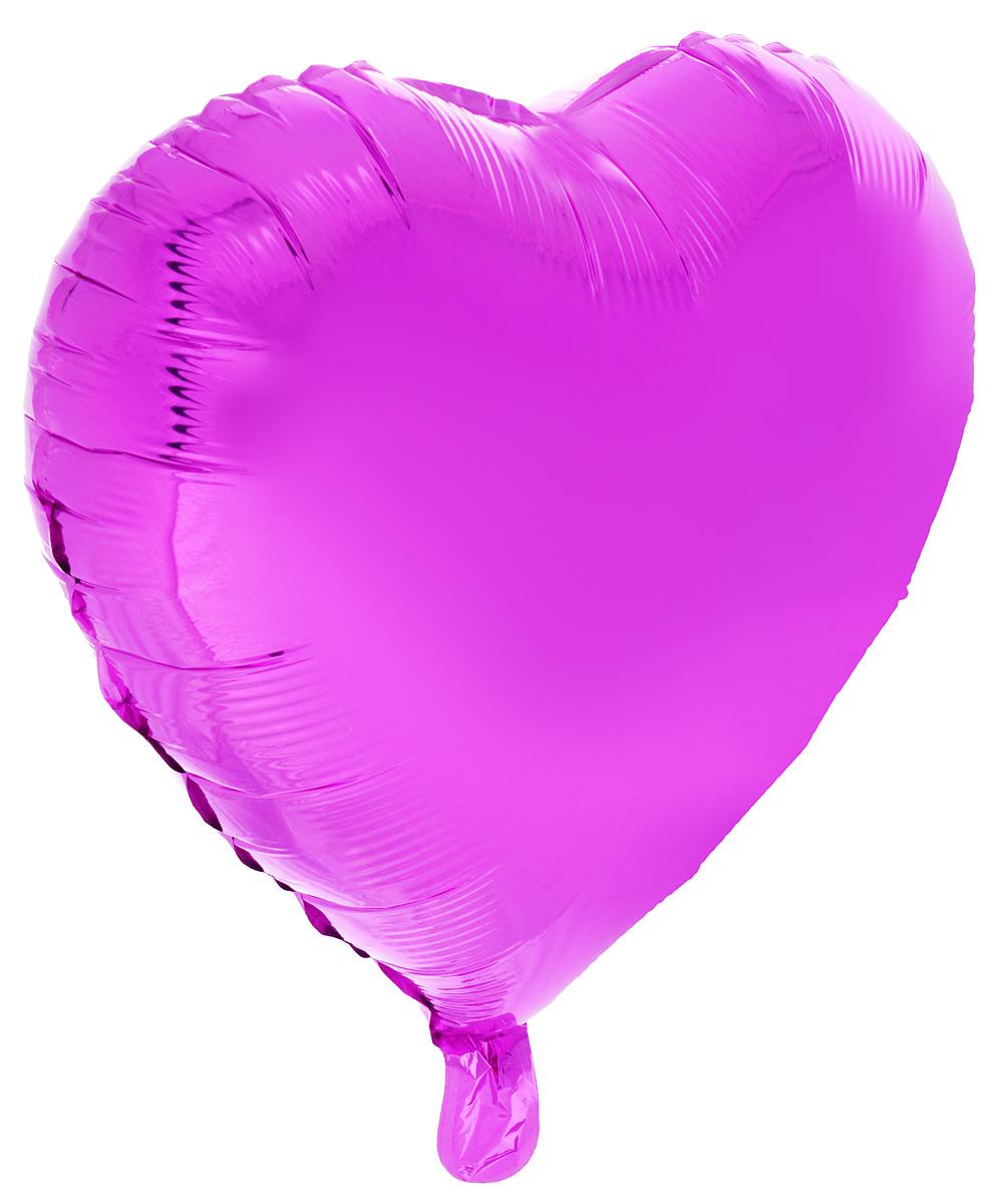 Action! Шар фольгированный Сердце цвет фиолетовый