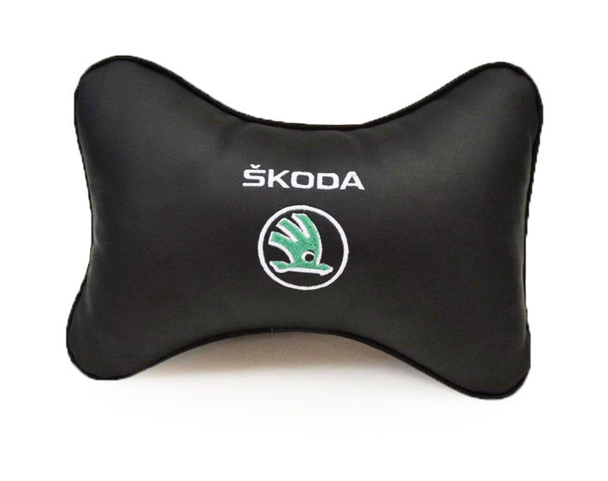 """Подушка на подголовник Auto premium """"SKODA"""", цвет: черный. 37018"""