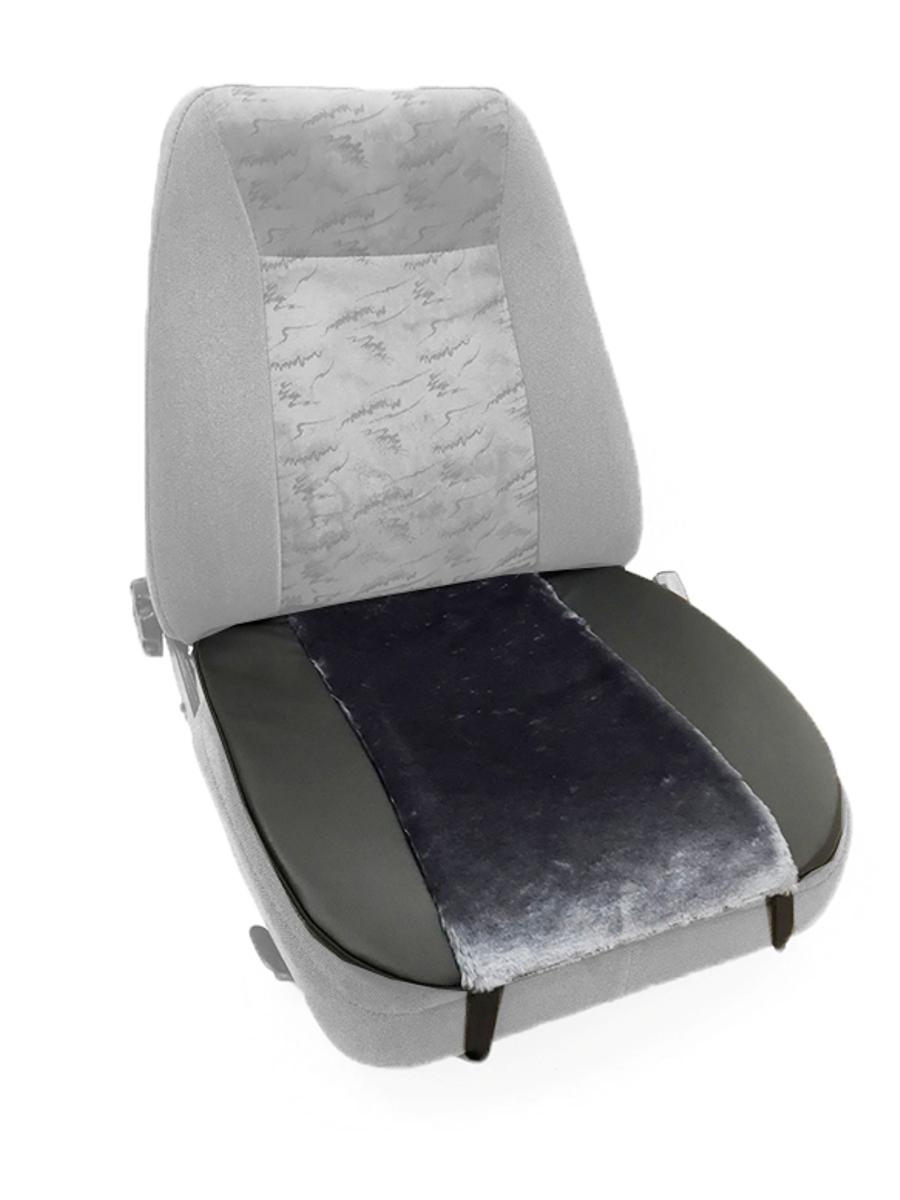 Накидка Auto premium на горизонтальную часть сидения, цвет: черно-серый. 4700747007Комбинированная накидка на нижнюю часть сиденья выполнена из искуственного меха и экокожи. Сочетания этих материалов обеспечит долговечность при использваонии накидки, при этом икомфорт останется на высоком уровне. Накидка имеет 4 точки крепления на сиденье, поэтому держится крепко и никуда не съедет.