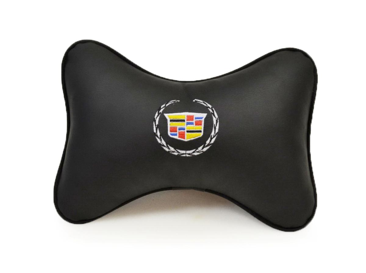 """Подушка на подголовник Auto premium """"CADILLAC"""", цвет: черный. 37038"""