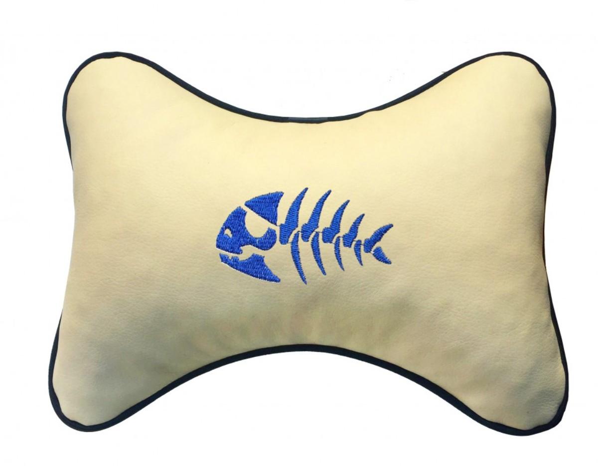 "Подушка на подголовник Auto premium ""Рыба"", цвет: бежевый. 37236"