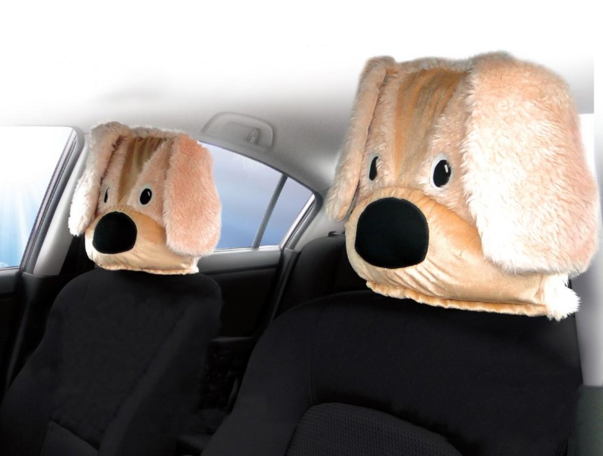 Чехол на подголовник Auto premium Собака (1 шт), цвет: бежевый. 7704277042Чехол на подголовник автомобиля собака - это интересное и необычное дополнение к салону авто. Сделайте себе и друзьям подарок, Вау-эффект от необычных пассажиров обеспечен. Чехол на подголовник выполнен из иск. меха и плюша. Устанавливается и подходит для всех типов подголовников.
