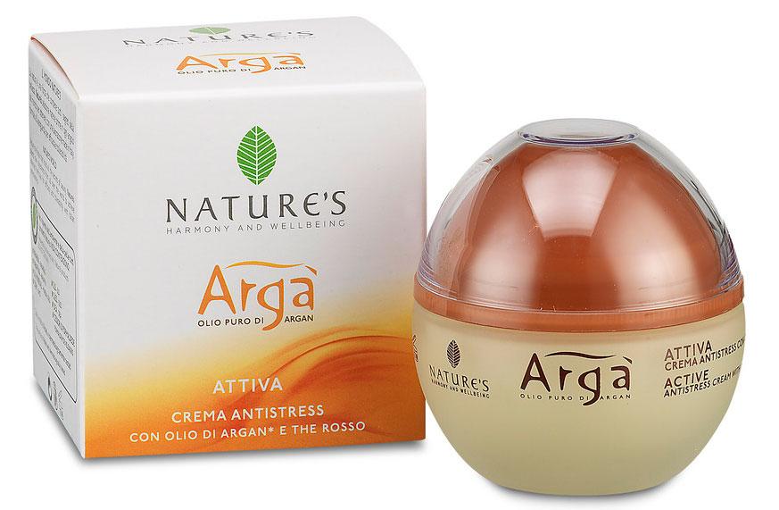 Крем для лица Natures Arga, антистресс, 50 мл60150203Антистрессовый крем для лица Natures Arga идеален для молодой кожи, подвергаемой стрессам. Уникальная формула, эффективно действующая днем и ночью, нейтрализует действие свободных радикалов, сохраняет кожу увлажненной, мягкой и эластичной, помогает значительно ослабить окислительный процесс и преждевременное старение кожи. Мгновенное ощущение комфорта, свежести и сияния. Способ применения: наносить утром и вечером нежными массажными движениями на предварительно очищенную кожу лица, шеи и области декольте. Придает немедленное ощущение комфорта.
