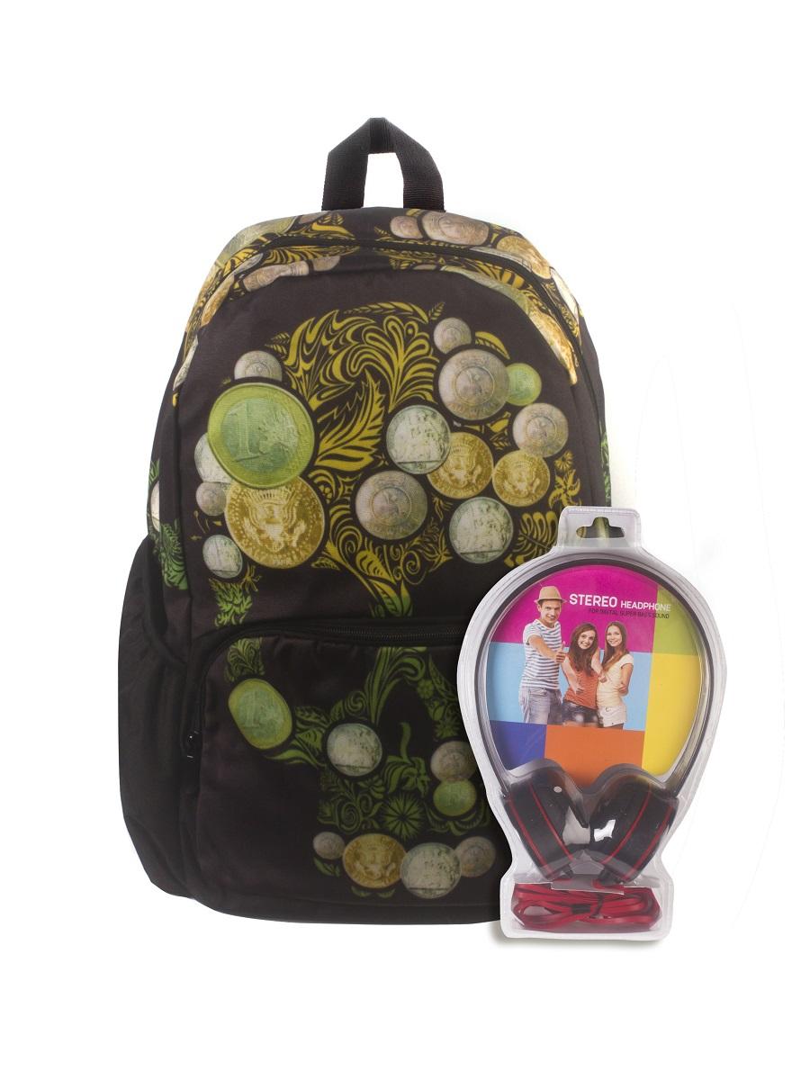 Рюкзак молодежный 3D Bags Роджер-Монеты, цвет: черный, зеленый, 27 л + ПОДАРОК: НаушникиWA-1505022Новая колекция для любителей Веселого Роджера. С этими рюкзаки вы всегда будете на пике популярности, а наушники, входящие в комлект, позволят вам не расставаться с любимой музыкой, фильмами и играми. Технические характеристики: длина шнура 1800 мм (+-50 мм), частота 20-20 КГц, импеданс 32 Ом (+-10%), чувствительность 105 дБ/В (+-3 дБ на 1 КГц), разъем mini-jack 3,5 мм. Наушники поставляются в цветовом ассортименте. Поставка осуществляется в зависимости от наличия на складе.