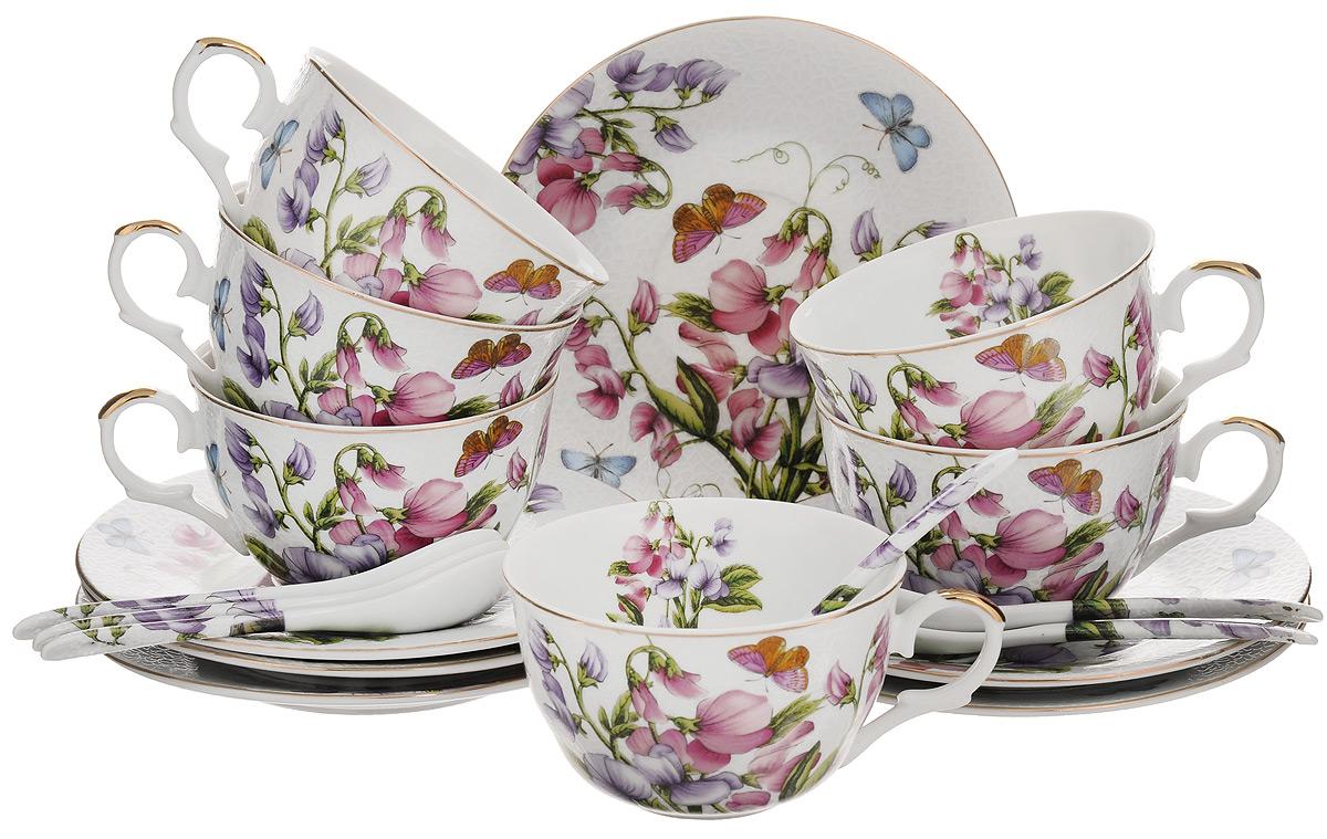Набор чайный Elan Gallery Душистый цветок, 18 предметов180686Чайный набор Elan Gallery Душистый цветок состоит из 6 чашек, 6 блюдец и 6 ложек. Изделия, выполненные из высококачественной керамики, имеют элегантный дизайн и классическую круглую форму. Такой набор прекрасно подойдет как для повседневного использования, так и для праздников. Чайный набор Elan Gallery Душистый цветок - это не только яркий и полезный подарок для родных и близких, но и великолепное дизайнерское решение для вашей кухни или столовой. Не использовать в микроволновой печи. Объем чашки: 250 мл. Диаметр чашки (по верхнему краю): 9,5 см. Высота чашки: 5,5 см. Диаметр блюдца (по верхнему краю): 15 см. Высота блюдца: 1,5 см. Длина ложки: 12,5 см.