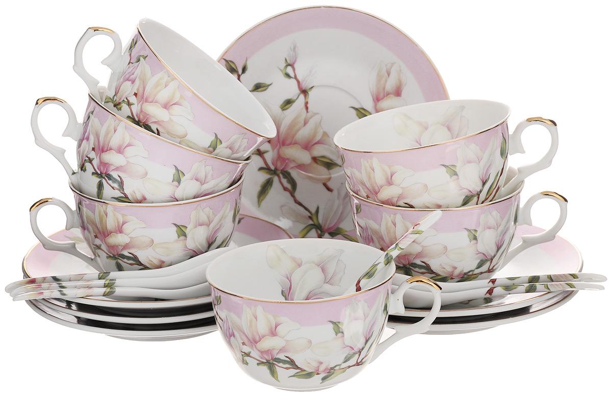 Набор чайный Elan Gallery Орхидея, с ложками, цвет: белый, светло-розовый, 18 предметов180687Чайный набор Elan Gallery Орхидея состоит из 6 чашек, 6 блюдец и 6 ложек. Изделия, выполненные из высококачественной керамики, имеют элегантный дизайн и классическую круглую форму. Такой набор прекрасно подойдет как для повседневного использования, так и для праздников. Чайный набор Elan Gallery Орхидея - это не только яркий и полезный подарок для родных и близких, а также великолепное дизайнерское решение для вашей кухни или столовой. Не использовать в микроволновой печи. Объем чашки: 250 мл. Диаметр чашки (по верхнему краю): 9,5 см. Высота чашки: 5,5 см. Диаметр блюдца (по верхнему краю): 15 см. Высота блюдца: 1,5 см. Длина ложки: 12,5 см.