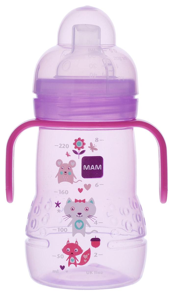 МАМ Бутылочка-поильник Trainer с мягким носиком от 4 месяцев цвет малиновый 220 мл6567/2Бутылочка-поильник с мягким носиком Trainer  разработана специально для малышей от 4 месяцев. Малыш легко перейдет от груди к бутылочке, а от бутылочки к самостоятельному питью. Мягкий носик-насадка со специальным отверстием для питья исключает протекание, а благодаря двум снимающимся ручкам по бокам, поильник очень удобно держать. Для удобства бутылочка оснащена мерной шкалой. В комплекте с поильником имеется крышка и соска-непроливайка. Крышку можно использовать как мерный стаканчик - на неё нанесена мерная шкала.