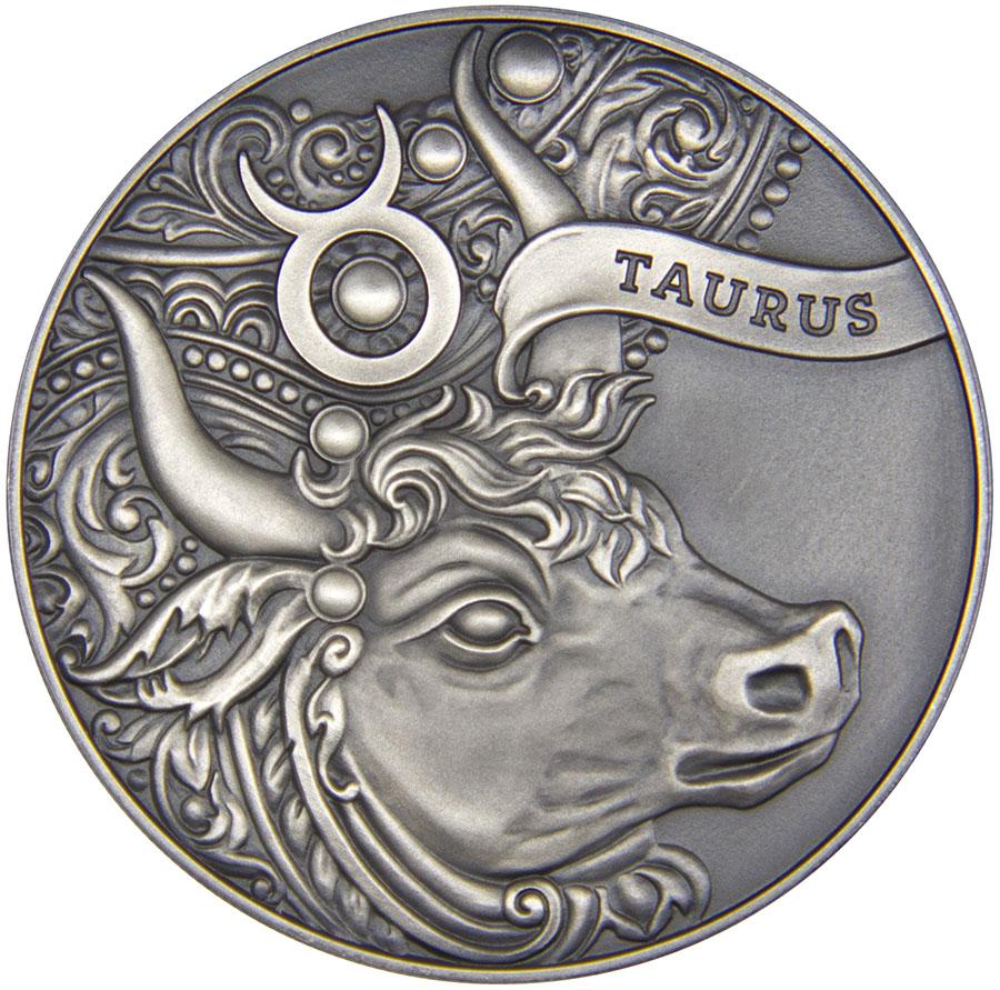 Монета номиналом 1 рубль Зодиакальный гороскоп. Телец. Беларусь, 2014 год739Диаметр: 37 мм. Вес: 19,5 гр. Материал: медно-никелевый сплав (оксидирована). Тираж: 3333 шт. Сохранность: UNC