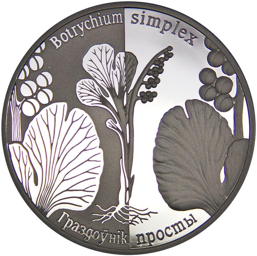 Монета номиналом 1 рубль Гроздовник простой. Медно-никелевый сплав. Беларусь, 2015 год739Диаметр: 32 мм. Вес: 15,5 гр. Материал: медно-никелевый сплав Тираж: 2000 шт. Сохранность: UNC