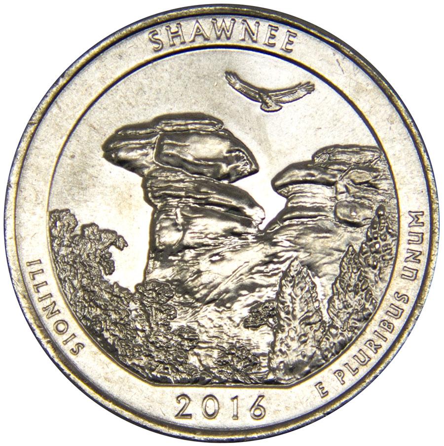 Монета номиналом 25 центов серии Национальные парки. Шоуни (Иллинойс). Медно-никелевый сплав. США, 2016 год739Диаметр: 24,5 мм. Вес: 5,67 гр. Материал: медно-никелевый сплав Сохранность: UNC