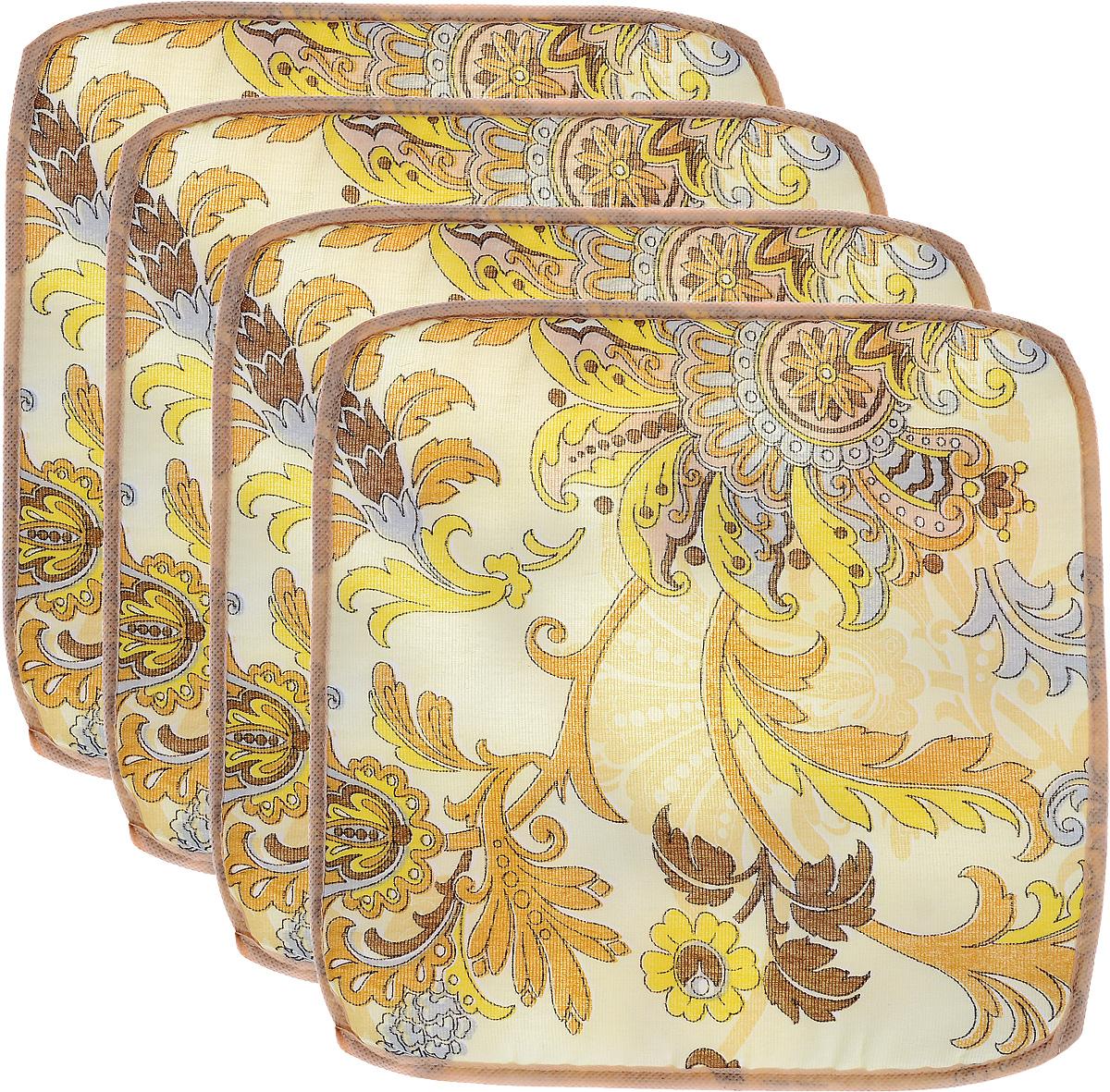 Набор подушек для стула Eva, цвет: желтый, коричневый, 34 х 34 см, 4 штЕ06-1_желтый, коричневыйПодушки на стул Eva, выполненные из хлопка с наполнителем из поролона, легко крепятся на стул с помощью завязок. Изделия прекрасно подойдут для стульев на кухне или в столовой. Правильно сидеть - значит сохранить здоровье на долгие годы. Жесткие сидения подвергают наше здоровье опасности. Подушки с наполнителем из поролона помогут предотвратить многие беды, которыми грозит сидячий образ жизни. Комплектация: 4 шт. Размер подушки: 34 х 34 х 0,5 см.