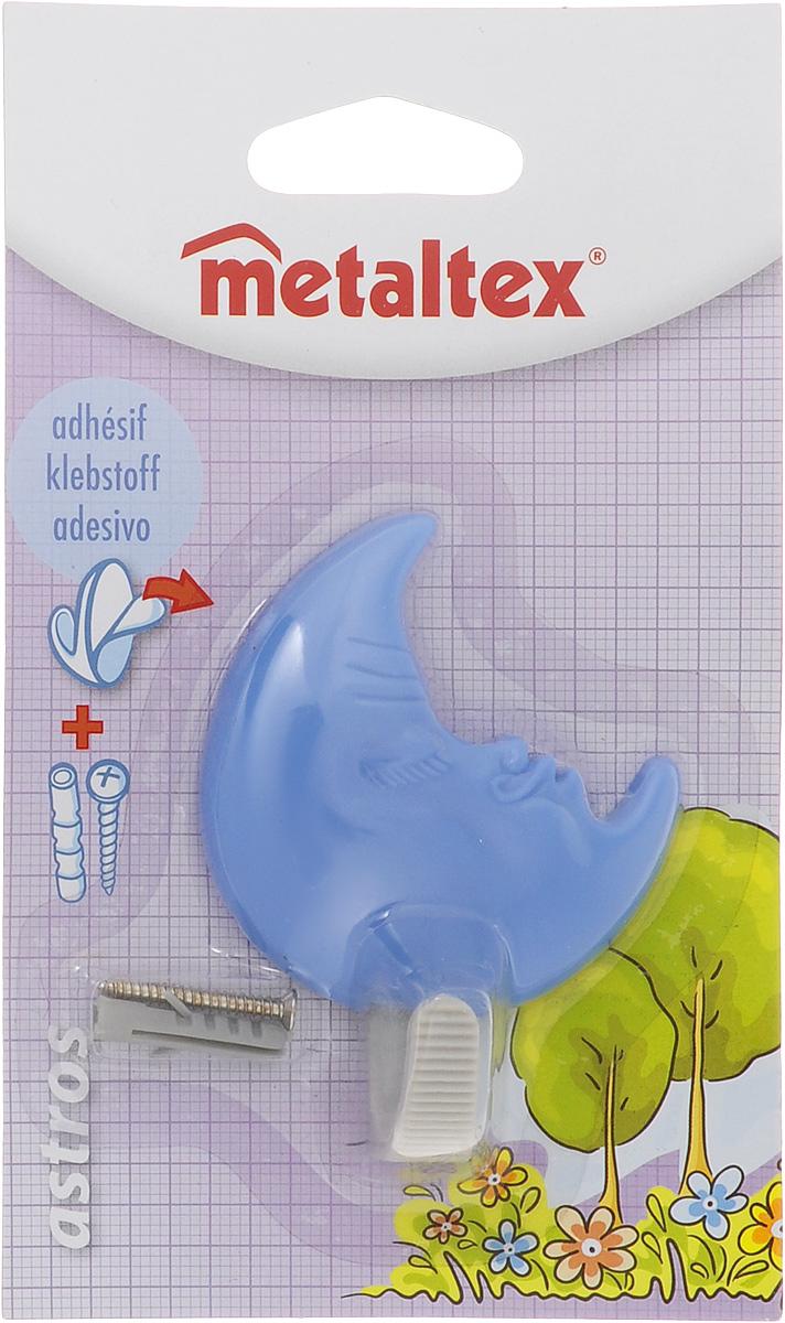 Крючок настенный Metaltex Astros. Луна, цвет: голубой29.05.10_луна,голубойНастенный крючок Metaltex Astros. Луна изготовлен из высококачественного цветного пластика. Он прекрасно подойдет для вашей ванной комнаты или кухни и не займет много места, надежно выдержав все, что вы на него повесите. Крючок крепится на стену с помощью липкой ленты, которая находится на задней стороне крючка или при помощи шурупа (входит в комплект). Он приклеивается к гладкой, ровной и чистой поверхности. На него можно вешать полотенца или любые другие вещи.