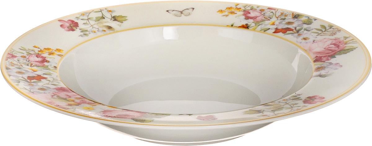 Тарелка суповая Nuova R2S Роскошные цветы, диаметр 23 см1360BLOCСуповая тарелка Nuova R2S Роскошные цветы выполнена из высококачественного фарфора и оформлен цветочным рисунком. Изделие сочетает в себе изысканный дизайн с максимальной функциональностью. Тарелка прекрасно впишется в интерьер вашей кухни и станет достойным дополнением к кухонному инвентарю. Суповая тарелка Nuova R2S Роскошные цветы подчеркнет прекрасный вкус хозяйки и станет отличным подарком. Можно мыть в посудомоечной машине и использовать в микроволновой печи. Диаметр тарелки: 23 см.