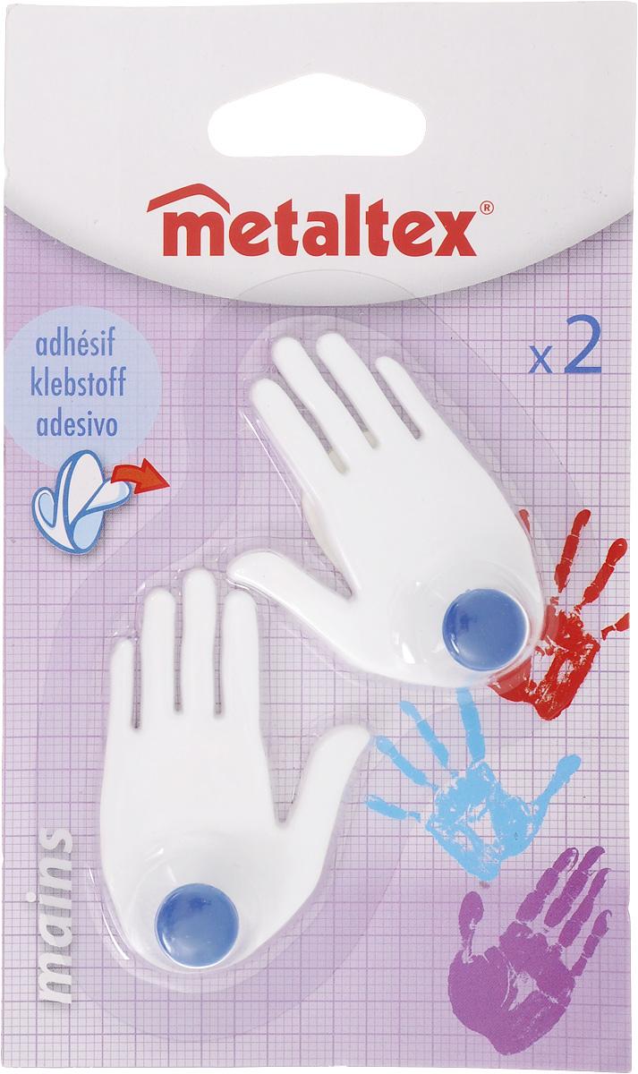 Набор крючков Metaltex Mains, цвет: белый, синий, 2 шт29.40.02_белый,синийНабор настенных крючков Metaltex Mains изготовлен из прочного пластика в виде левой и правой руки. Они прекрасно подойдут для вашей ванной комнаты или кухни и не займут много места, надежно выдержав все, что вы на них повесите. Крючки могут крепится на стену с помощью липкой ленты которая находится на задней стороне крючка. Размер крючка: 4 х 1,5 х 6 см. Комплектация: 2 шт.