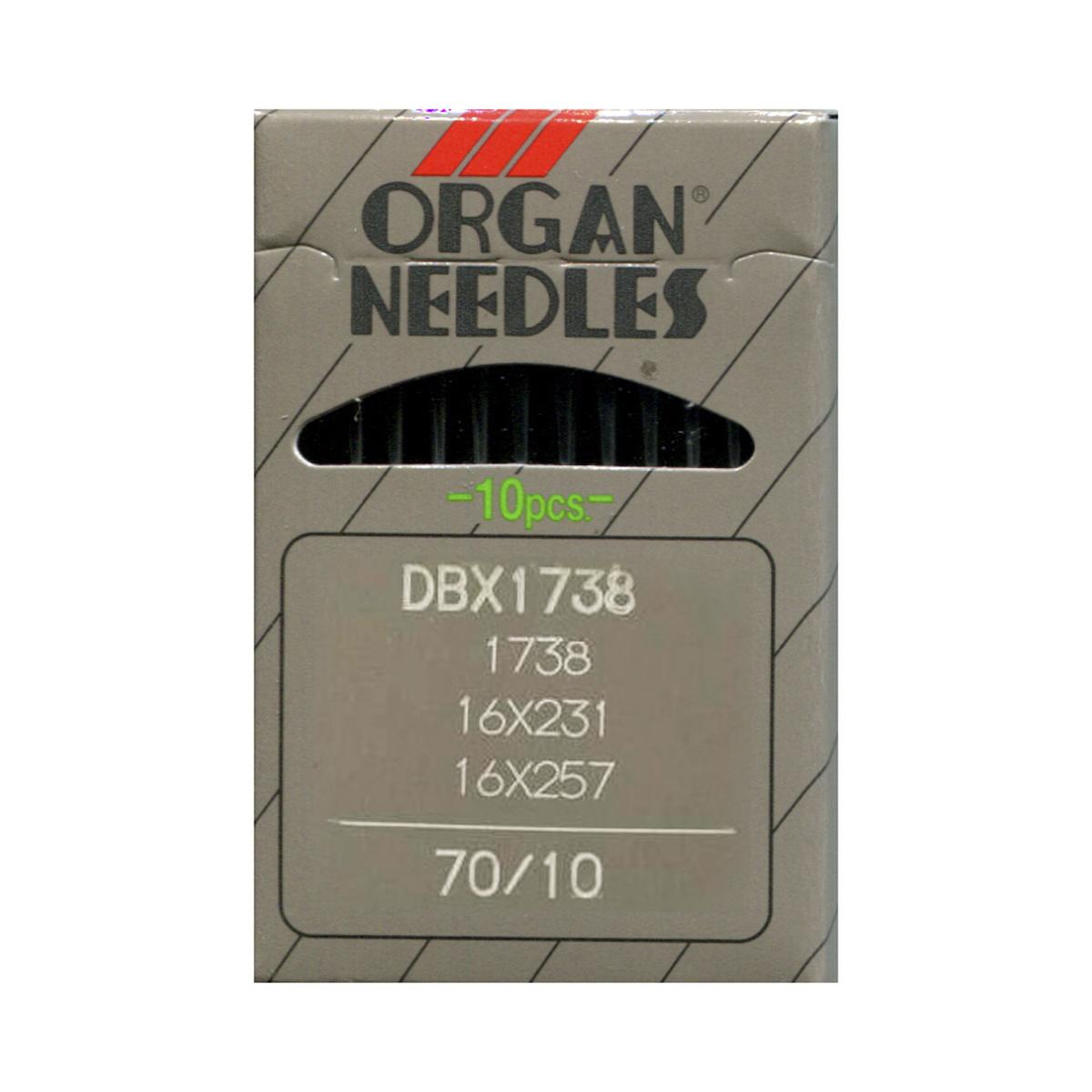 Иглы для промышленных швейных машин Organ, DBx1/70, 10 шт162269Иглы для промышленных швейных машин Organ с маркировкой DBx1 предназначены для прямострочных швейных машин. Иглы используются для пошива всех видов тканей. Острие игл тонкое, стандартное. Предназначены для машин цепного стежка 10Б, 53, 810 классов и импортных аналогов. В промышленных машинах используются иглы с круглыми колбами, в отличие от игл бытовых машин, у которых колбы плоские. Круглая колба позволяет при наладке машины и установке иглы поворачивать (вращать) иглу, закрепляя ее в нужном положении. Диаметр колбы: 1,64 мм. Длина иглы: 33,9 мм. Номер игл: 70.